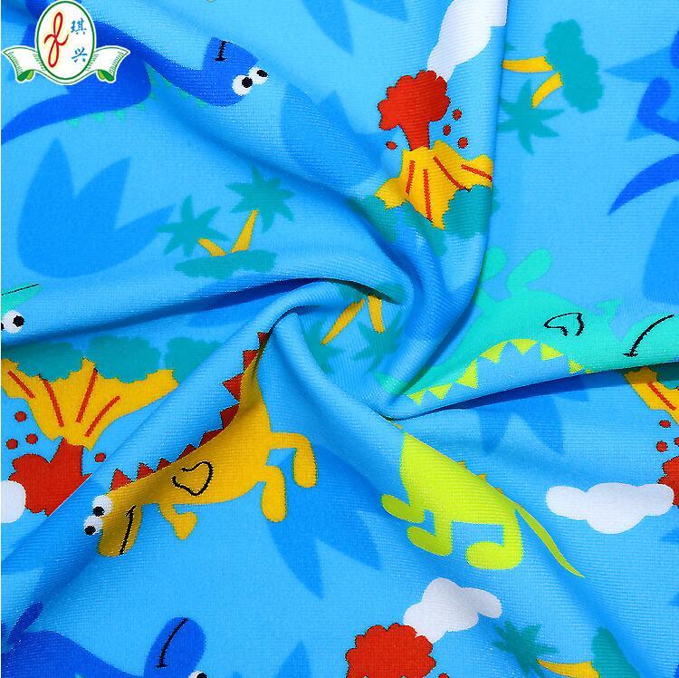 酸性数码印花泳衣布料 儿童卡通泳衣面料
