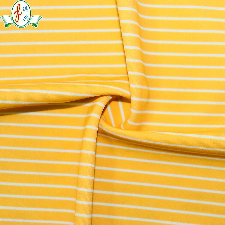 纬编锦氨泳装泳衣裤面料 黄色条纹印花布